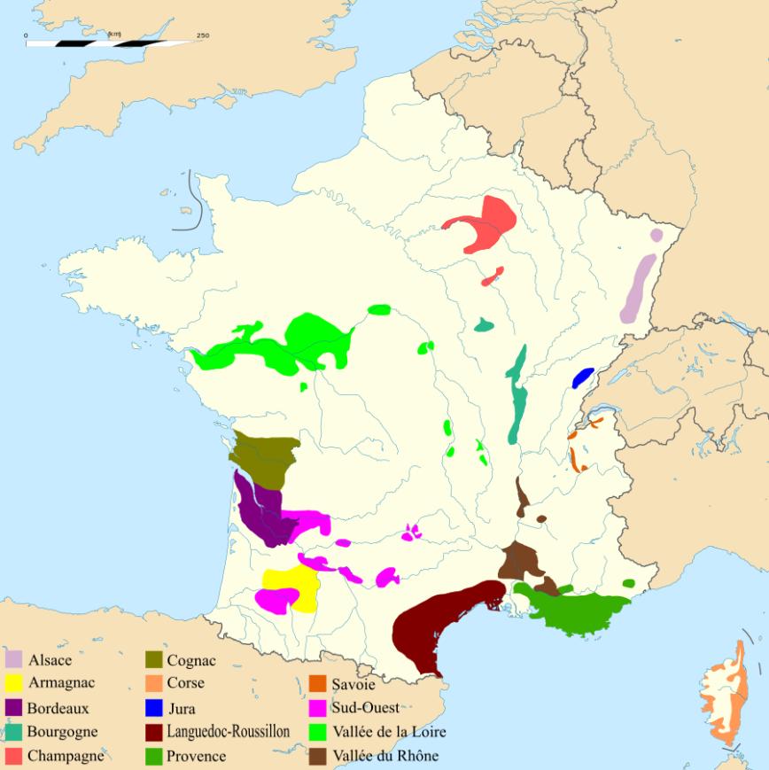 les régions viticoles francaises